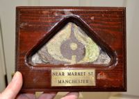 An excellent colour glazed Early Medieval decorative floor tile in vintage frame, Manchester,  SOLD